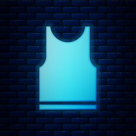 Glowing neon Sleeveless T-shirt icon isolated on brick wall background. Vector Illustration
