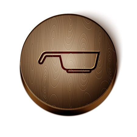 Brown line Frying pan icon isolated on white background. Fry or roast food symbol. Wooden circle button. Vector