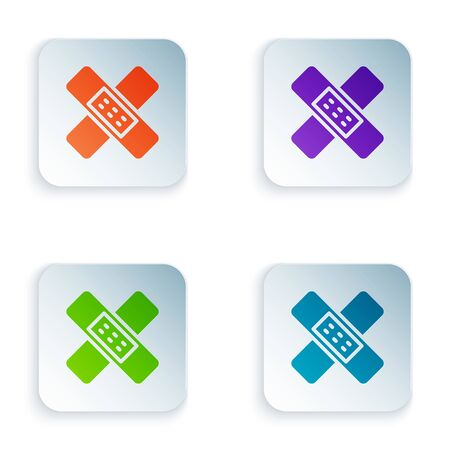 Color Crossed bandage plaster icon isolated on white background. Medical plaster, adhesive bandage, flexible fabric bandage. Set colorful icons in square buttons. Vector Illustration