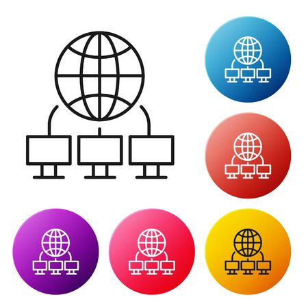 Black line Computer network icon isolated on white background. Laptop network. Internet connection. Set icons colorful circle buttons. Vector. Illustration Vectores