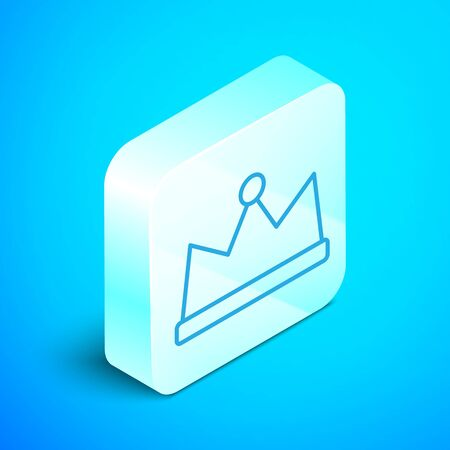 Isometric line Crown icon isolated on blue background. Silver square button. Vector Vectores