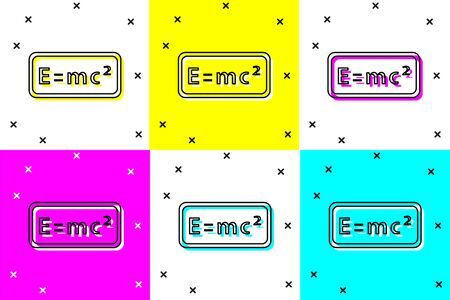 Set Math system of equation solution icon isolated on color background. E equals mc squared equation on computer screen. Vector Vettoriali
