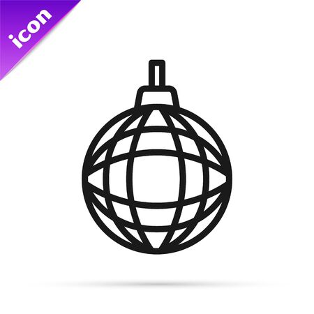 Black line Disco ball icon isolated on white background. Vector