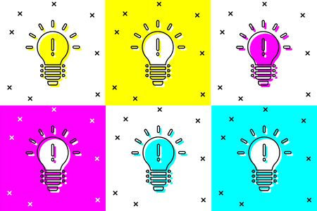 Set Light bulb with concept of idea icon isolated on color background. Energy and idea symbol. Inspiration concept. Vector Illustration Vettoriali
