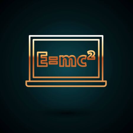 Gold line Math system of equation solution on chalkboard icon isolated on dark blue background. E equals mc squared equation on computer screen. Vector Ilustración de vector