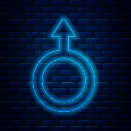 Glowing neon line Male gender symbol icon isolated on brick wall background. Vector