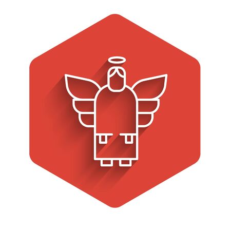 White line Christmas angel icon isolated with long shadow. Red hexagon button. Vector Illustration