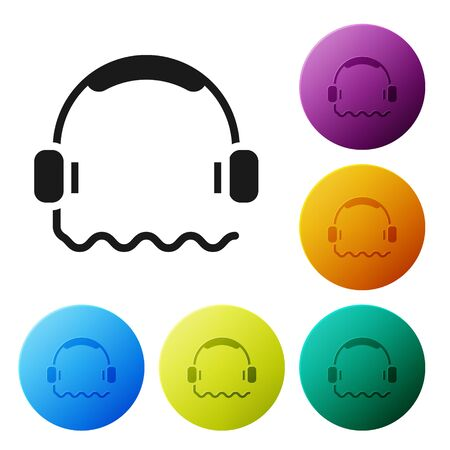 Black Headphones icon isolated on white background. Support customer service, hotline, call center, faq, maintenance. Set icons in color circle buttons. Vector Illustration