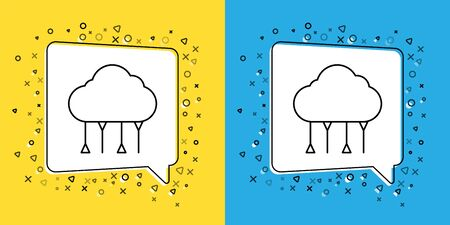 Set line Network cloud connection icon isolated on yellow and blue background. Social technology. Cloud computing concept. Vector. Illustration Vectores