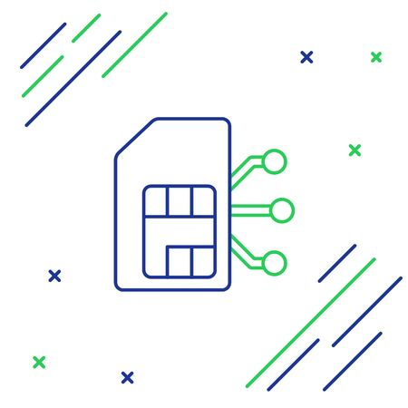 Line Sim card icon isolated on white background. Mobile cellular phone sim card chip. Mobile telecommunications technology symbol. Colorful outline concept. Vector.