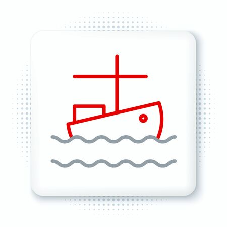 Line Fishing boat on water icon isolated on white background. Colorful outline concept. Vector. Ilustração