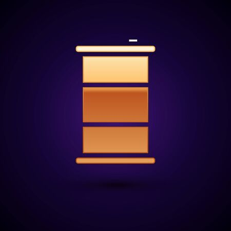 Gold Barrel oil icon isolated on black background. Vector Illustration