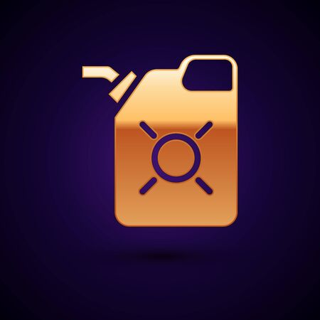 Gold Canister for motor machine oil icon isolated on black background. Oil gallon. Oil change service and repair. Engine oil sign. Vector Illustration.