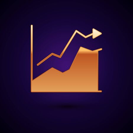 Gold Oil price increase icon isolated on black background. Oil industry crisis concept. Vector Illustration  イラスト・ベクター素材