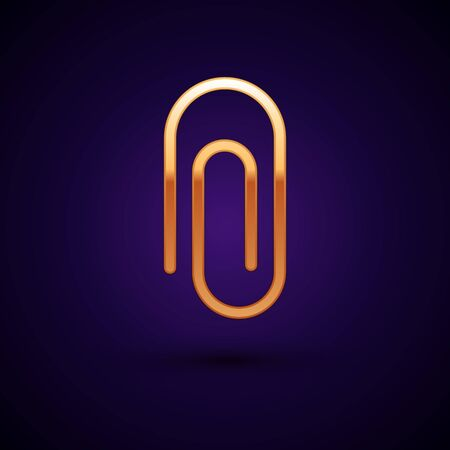 Gold Paper clip icon isolated on black background. Vector Illustration.