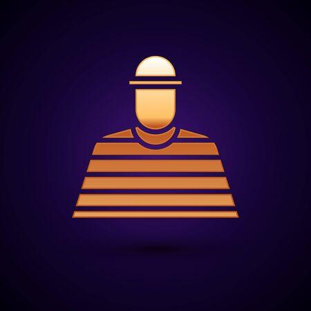 Gold Prisoner icon isolated on black background. Vector Illustration. Illusztráció