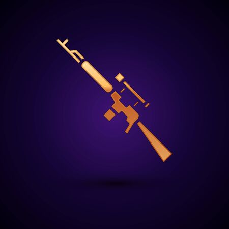 Gold Sniper rifle with scope icon isolated on black background. Vector Illustration