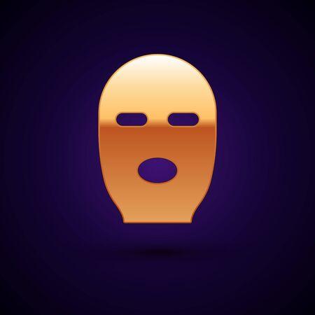 Gold Thief mask icon isolated on black background. Bandit mask, criminal man. Vector Illustration.