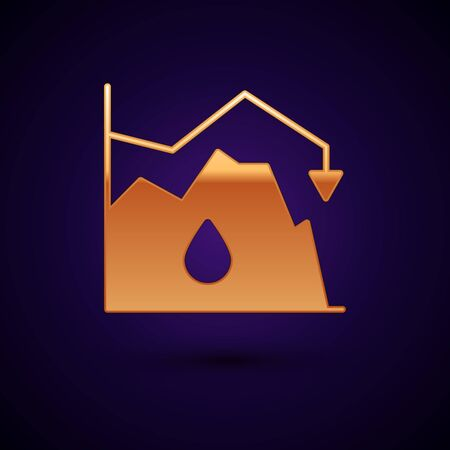 Gold Drop in crude oil price icon isolated on black background. Oil industry crisis concept. Vector Illustration