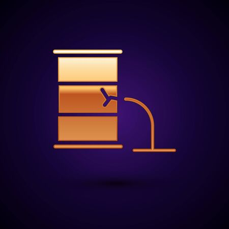 Gold Barrel oil leak icon isolated on black background. Vector Illustration  イラスト・ベクター素材
