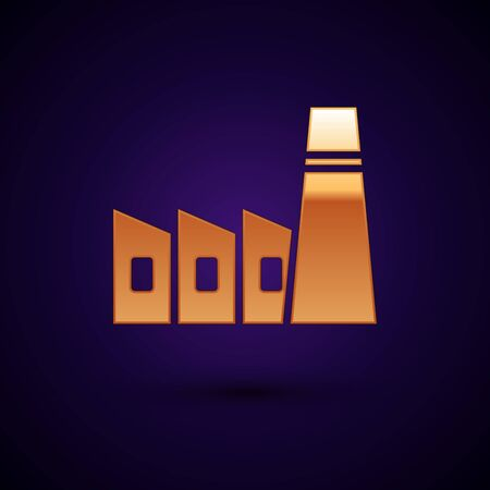 Gold Oil and gas industrial factory building icon isolated on black background. Vector Illustration.  イラスト・ベクター素材
