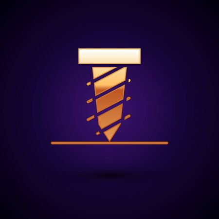 Gold Rotating drill digging a hole in a ground icon isolated on black background. Vector Illustration  イラスト・ベクター素材