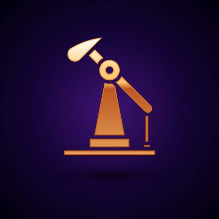 Gold Oil pump or pump jack icon isolated on black background. Oil rig. Vector Illustration.