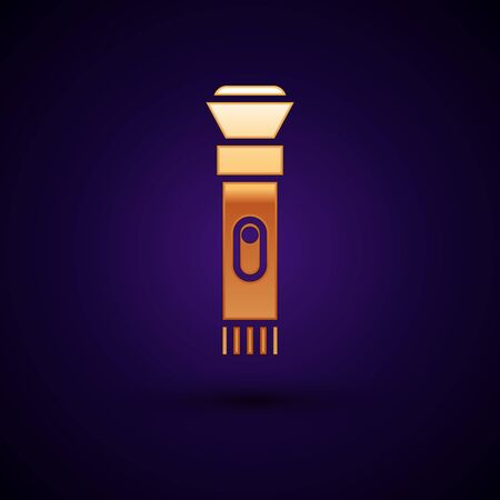 Gold Flashlight icon isolated on black background. Vector Illustration.