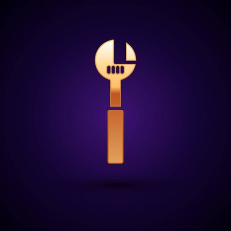 Gold Adjustable wrench icon isolated on black background. Vector Illustration.