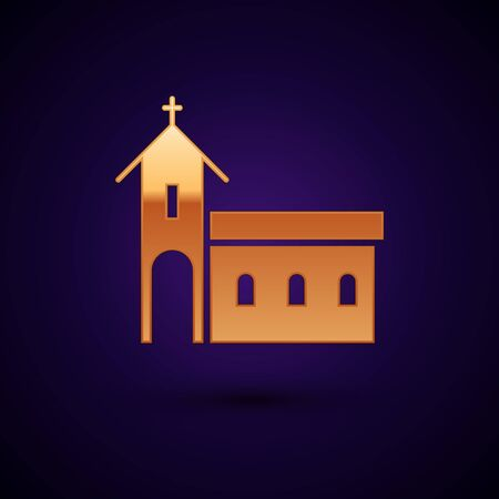Gold Church building icon isolated on black background. Christian Church. Religion of church. Vector Illustration