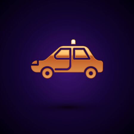 Gold Police car and police flasher icon isolated on black background. Emergency flashing siren. Vector Illustration. Vecteurs