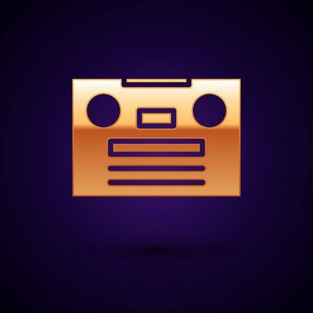 Gold Retro audio cassette tape icon isolated on black background. Vector Illustration.