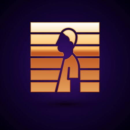Gold Suspect criminal icon isolated on black background. The criminal in prison, suspected near the board. Vector Illustration