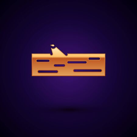 Gold Wooden log icon isolated on black background. Vector Illustration Banque d'images - 149714787