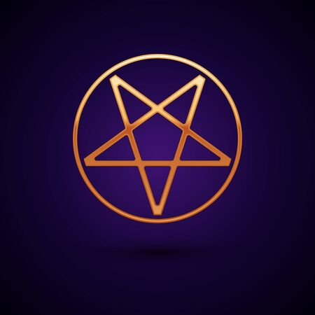 Gold Pentagram in a circle icon isolated on black background. Magic occult star symbol. Vector Illustration.