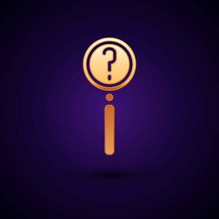 Gold Magnifying glass with search icon isolated on black background. Detective is investigating. Vector Illustration.
