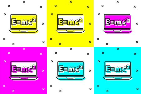 Set Math system of equation solution on laptop icon isolated on color background. E equals mc squared equation on computer screen. Vector