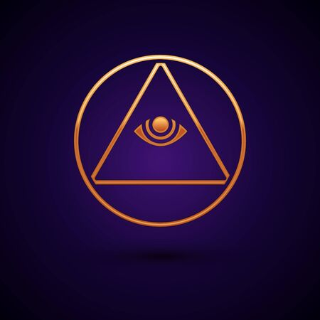 Gold Masons symbol All-seeing eye of God icon isolated on black background. The eye of Providence in the triangle. Vector Illustration