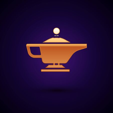 Gold Magic lamp or Aladdin lamp icon isolated on black background. Spiritual lamp for wish. Vector Illustration.