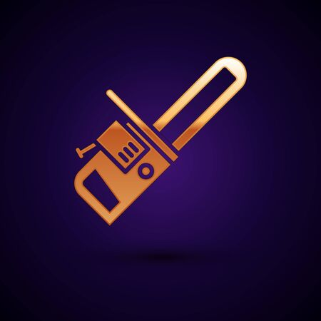 Gold Chainsaw icon isolated on black background. Vector Illustration