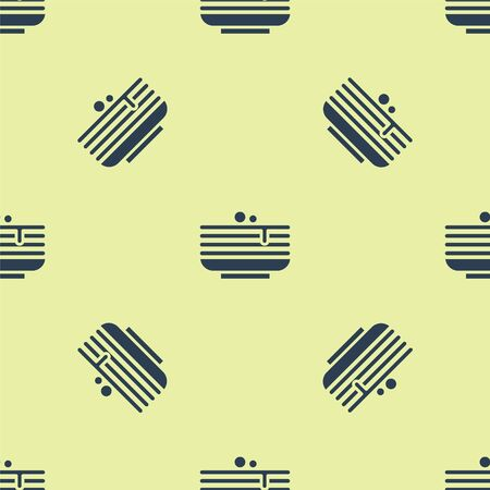 Blue Stack of pancakes icon isolated seamless pattern on yellow background. Baking with syrup and cherry. Breakfast concept. Vector