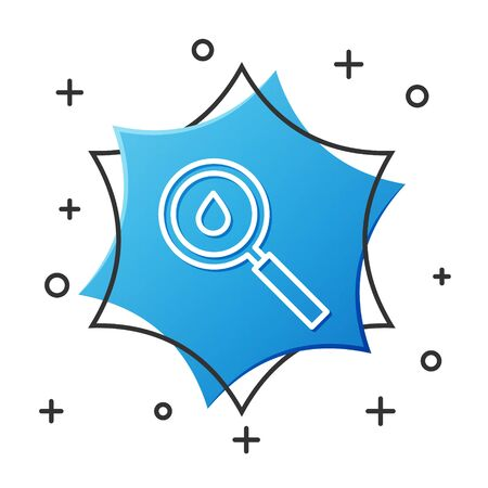 White line Oil drop icon isolated on white background. Geological exploration, geology research. Blue hexagon button. Vector Illustration  イラスト・ベクター素材