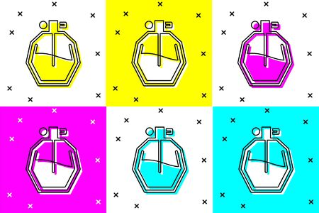 Set Perfume icon isolated on color background. Vector Illustration Ilustrace