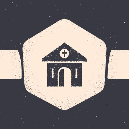 Grunge Church building icon isolated on grey background. Christian Church. Religion of church. Monochrome vintage drawing. Vector Illustration