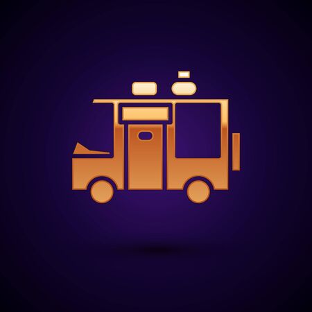 Gold Rv Camping trailer icon isolated on black background. Travel mobile home, caravan, home camper for travel. Vector Illustration