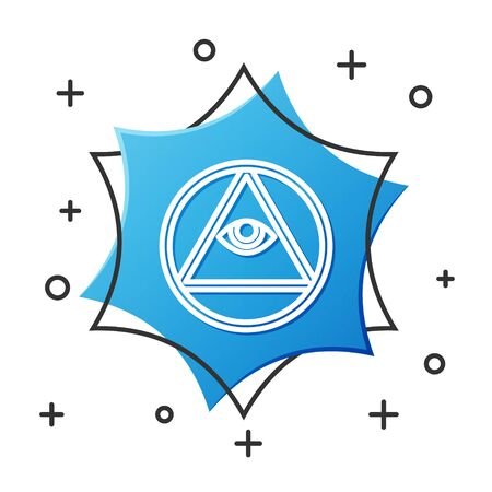 White line Masons symbol All-seeing eye of God icon isolated on white background. The eye of Providence in the triangle. Blue hexagon button. Vector Illustration
