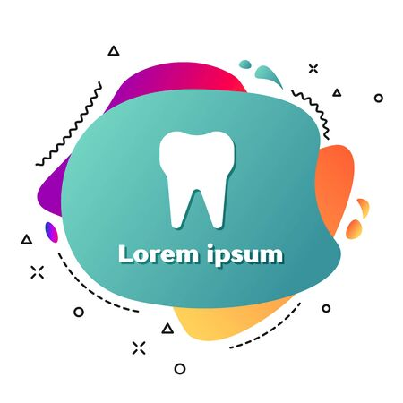 White Tooth icon isolated on white background. Tooth symbol for dentistry clinic or dentist medical center and toothpaste package. Abstract banner with liquid shapes. Vector Illustration