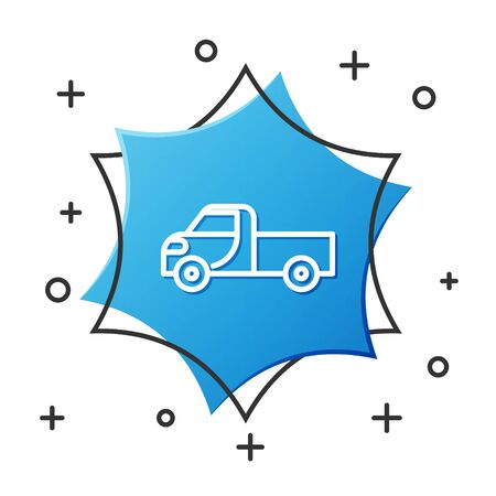 White line Pickup truck icon isolated on white background. Blue hexagon button. Vector Illustration