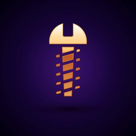 Gold Metallic screw icon isolated on black background. Vector Illustration  イラスト・ベクター素材