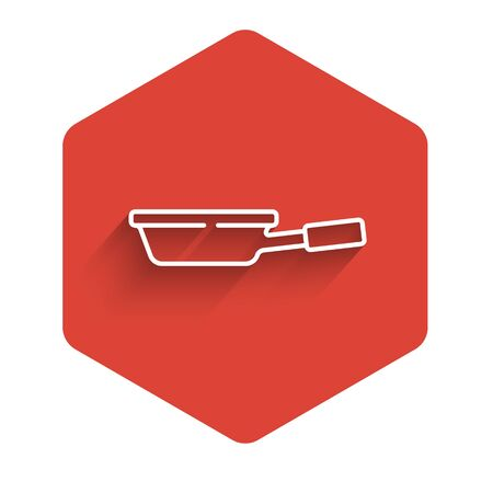 White line Frying pan icon isolated with long shadow. Fry or roast food symbol. Red hexagon button. Vector 向量圖像